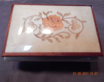 Vintage Italian Reuge Music Box with Inlaid Wood