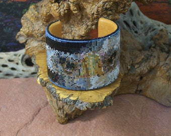 Eagle Eyes Native American Beaded Bracelet Copper Cuff Authentic Cherokee Hand Made Jewelry Beadwork By LJ Greywolf