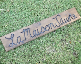 CUSTOM wood  sign -- hand carved  Cursive Font -- rustic un painted -- your name or numbers on reclaimed western cedar