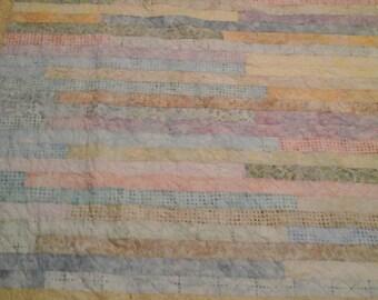 pastel twin size batik quilt