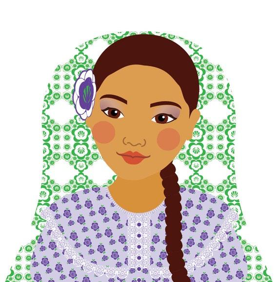 Argentine Doll Art Print with traditional folk dress, matryoshka