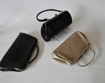 Trio of Vintage Mod Clutch Handbags.  All Vinyl, Vegan. Taupe, Dark Brown, Black patent-leather like. 1960's Retro