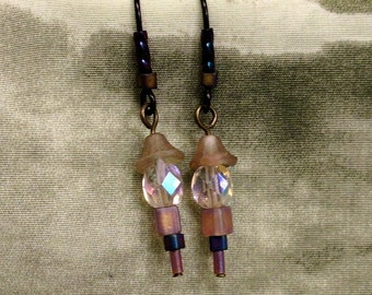Shimmering Iridescent Glass Dangle Earrings