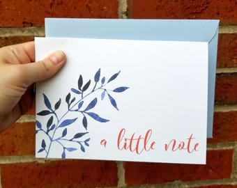 A Little Note Floral Greeting Card with Matching Envelope