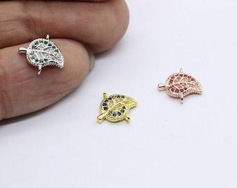 Cubic Zirconia Leaf Bracelet , Leaf Charms, Connector, Leaf Jewelry 12*11mm