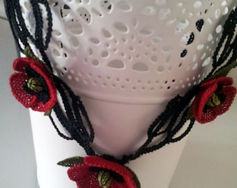 Red  Necklace, red poppy,red crochet necklace, christmas necklace,fiber necklace,red jewelry,poppy,burgundary red , statement,red poppy bib,