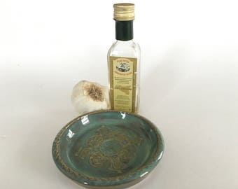 Garlic grater dish-aqua shells and sea turles-pottery condiment dish
