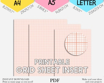 Grid planner insert Grid sheet Planner insert Grid planner for Kikki K, Bullet journal, Filofax. Grid A4 A5 and Letter size PDF PRINTABLE