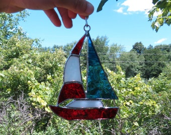 sailboat #2 Stained glass with ring hanger