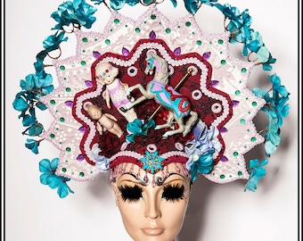 Plaything....  Marionette Inspired Headdress in Purple Turquoise Burgundy With Antique Dolls and Carousel Horse