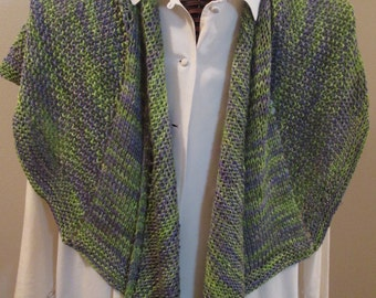 Silk Wool Scarf in Lavender and Peridot Fine Yarn