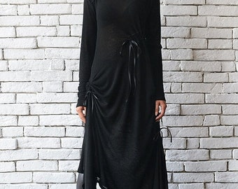 SALE Black Maxi Dress/Oversize Long Tunic/Extravagant Black Kaftan/Plus Size Maxi Dress/Long Sleeve Top/Asymmetric Black Dress/Loose Tunic D