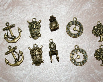 set of 10 bronze charms 5 different designs