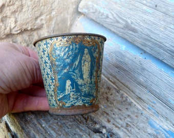 Vintage 1930s French tin cup  to drink Miraculous water of Lourdes/France/religious/Souvenir