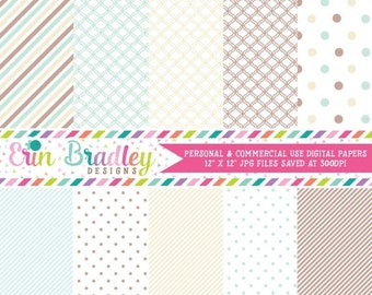80% OFF SALE Digital Paper Pack Scrapbook Papers Personal and Commercial Use Soft Blue and Browns