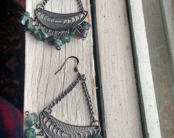 Green Stone Chandelier Earrings / Green Stone Earrings / Statement Chandelier Earrings