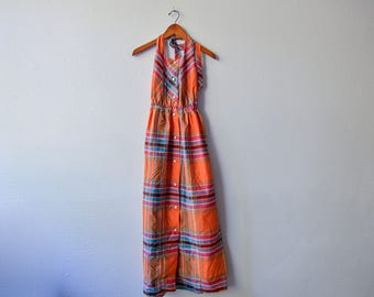 Vintage 70s Orange Button  down Halter Maxi Dress