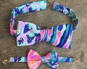 His & Her Lilly Pulitzer Gypset Paradise Bow Tie and Bow Bracelet Set