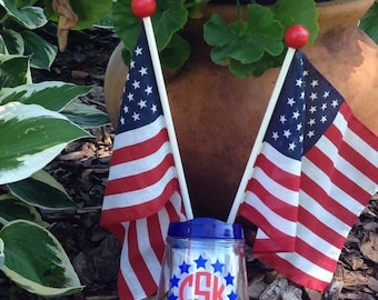 Patriotic Stemless Acrylic Wine Tumbler for 4th of July Labor Day Memorial Day American Pride