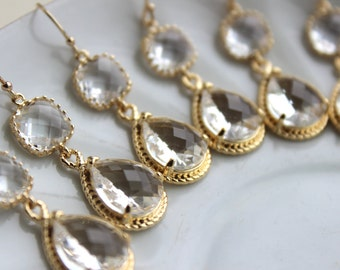 15% Off Set of 5 Wedding Jewelry Gold Crystal Clear Bridesmaid Earrings - Gold Bridal Bridesmaid Two Tier Crystal Earrings Gold Teardrop