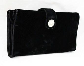 1950s Black Velvet Handbag - Modernist Evening Purse - 50's Winter Formal Bag with Rhinestones - Rectangular Mid Century Design - 48228