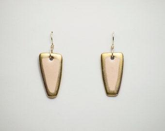 Porcelain Earrings. Ceramic Earrings. Dangle Earrings. Wearable Art. Gold. Gold Luster.