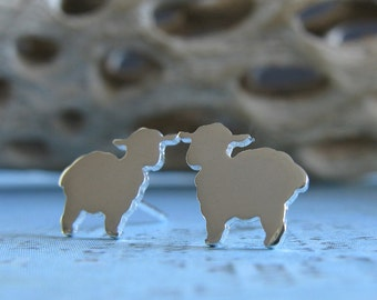 Lamb sterling silver stud earrings. Dainty sheep post earrings. 14k gold filled or solid 14k yellow gold. Animal kids posts. Farm jewelry.