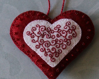embroidered and beaded red felt heart decoration