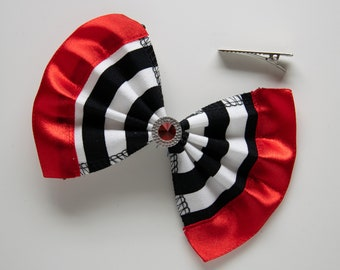 Hair clip bow striped red ribbon with red stone