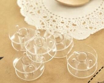 5 Bobines Canettes Transparent en Plastique Pour Fil de Machine à Coudre