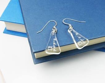 Beaker Earrings - Science Nerd Jewelry With Scientific Flasks - Geekery Gift - Biology, Chemistry Gift for Scientists, Teachers