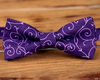 Mens Bow Tie - purple swirl cotton bowtie - bow tie for men and teen boys - wedding bow tie - mens casual bow tie - men's lavender bow tie