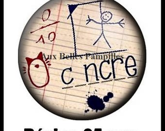 Round cabochon resin 25 mm - stick dunce (1297) - text, Word, school, school