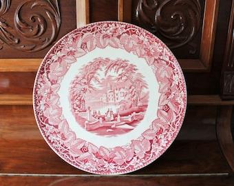 Masons Ironstone Vista Large Round Platter Pink Transferware 1930s