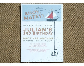 Boat and Anchor Birthday Party Invitation - Childrens Birthday Invite - Anchor and Sail Boat - Pirate Ship - Ahoy Matey - Kids Birthday