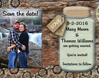 Rustic wedding, rustic invites, save the date, wedding announcement , steampunk gears, personalized, YOU print, printable, mason jar