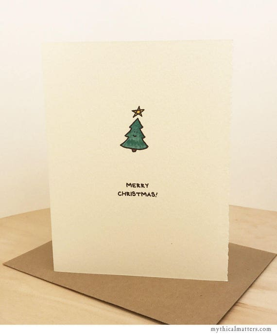 Season's Greetings Card Christmas Card Merry Christmas Cute Sentiment Christmas tree paper made in Canada Toronto holiday