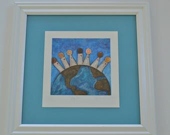 Framed World Love Print, Framed Signed Giclee Print of Together by CB Burroughs