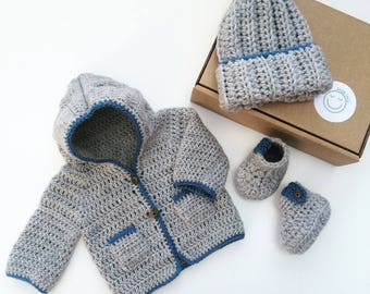 Baby boy gift set, crochet baby set, hooded baby cardigan, crochet baby booties, new baby gift, baby shower gift, baby boy cardigan set