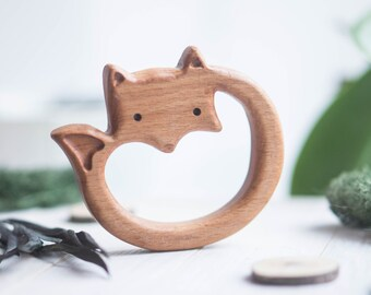 Organic Wooden Teether Fox. Beech Teething Toy.  Hand-carved Teether. Natural Baby Toy. Eco Friendly Infant Toy.  Newborn gift.