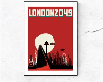 London 2049 - Brutal and Dystopian. Illustrated Poster Art Print - Matte and Giclee prints. Architecture Prints of London. Wall art.