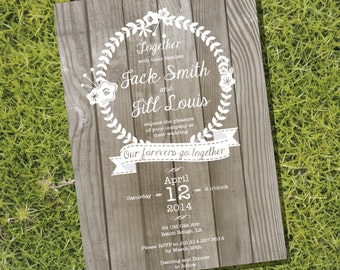 Rustic / Wooden Wedding Invitation - Instant Download and Edit with Adobe Reader - Print at Home!