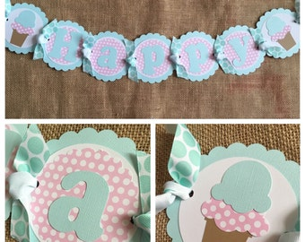 Ice Cream Birthday Banner, Ice Cream Party Banner, Ice Cream Birthday Supplies, Ice Cream Party Supplies, Ice Cream Party Decorations