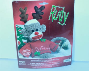 """Janlynn 21"""" Sock Monkey kit 0465-66 Rudy I Believe New Sealed 2003 Made in the USA!"""