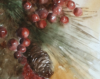 Christmas Decoration for Holiday decor winter decor holly berries PRINT holly painting pinecones holly berries Traditional Christmas art