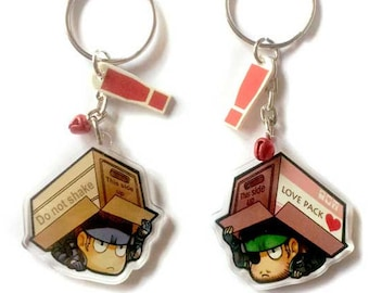 Clear acrylic double sided Metal gear Solid snake Charm keychain