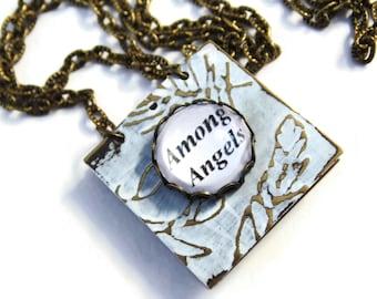 Kate Bush Book Necklace - AMONG ANGELS - Ltd Ed white bronze wearable art Etsy uk