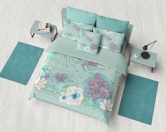 Floral Hawaii Map Duvet Cover - or comforter -  bed - bedroom, tropical travel decor, cozy soft, foliage, flowers, teal, aqua, decor
