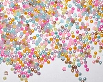 10000 PC gemischte Regenbogen Mini winzigen Flatback Harz halbe Runde Acryl Nachahmungen von Perlen Perle Perle Kabine Nail Art MR040718 1,5 mm 2mm 2,5 mm 3mm