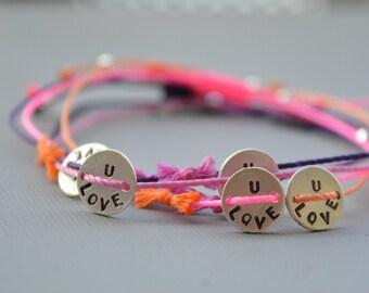 Love bracelet, Tiny handstamped, Love, Frienship, Bracelet, LOVE U Bracelet, Adjustable, 13 colors, Sisters, Mother, gift